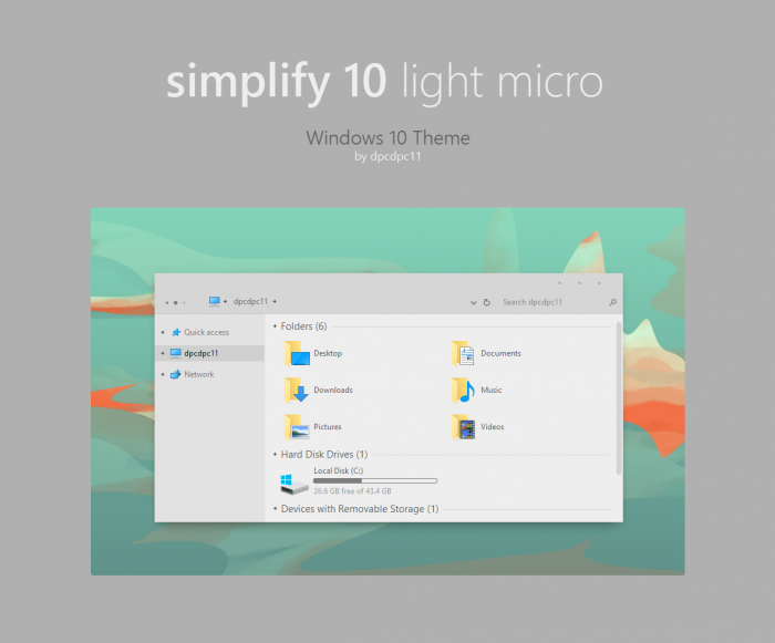 Simplify 10 Light Micro — светлая тема с миниатюрными элементами управления