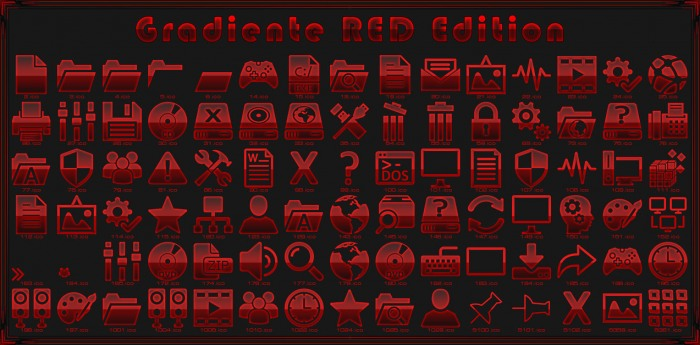 Gradiente Biohazard и RED Edition — системные иконки для тёмных техно-тем